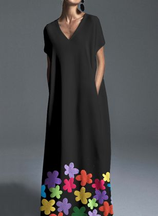 Plus Size Color Block V-Neckline Elegant Maxi Shift Dress Plus Dress