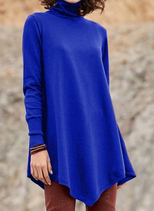 Draped Neckline Solid Casual Loose Long Shift Sweaters (112236779)