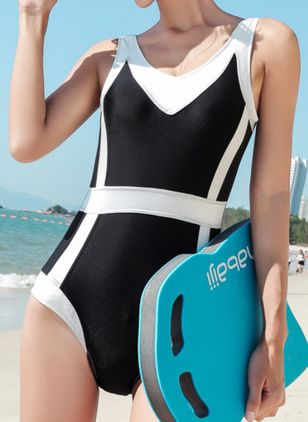Polyester Color Block One-piece Swimwear (148019840)