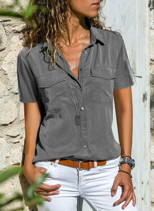 Solid Casual Collar Short Sleeve Blouses (1359947)