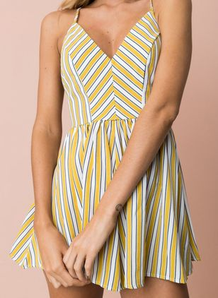 Casual Stripe Slip Camisole Neckline A-line Dress (5121667)