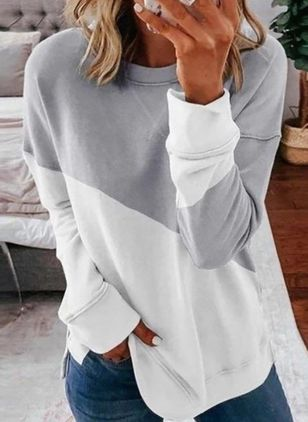 Color Block Casual Round Neckline Long Sleeve Blouses (100546706)