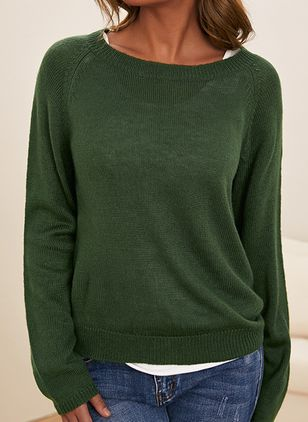 Round Neckline Solid Casual Loose Regular Shift Sweaters (110711621)