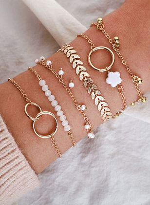 Casual Floral Round Bracelets (147210263)