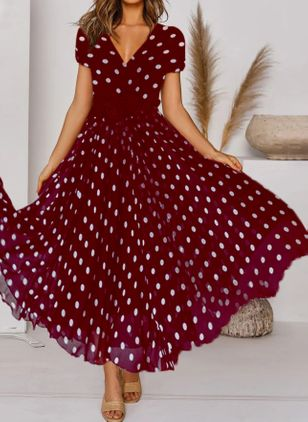 Casual Polka Dot V-Neckline Maxi X-line Dress (147124724)