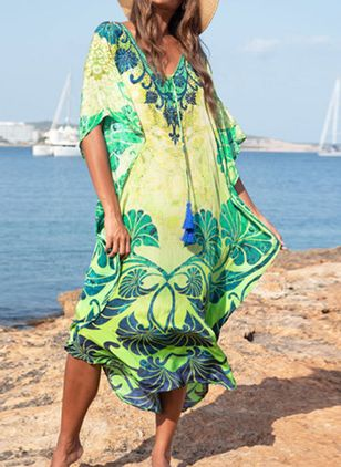 Plus Size Cover-Ups Cotton Natural Waist Tassels Floral Plus Swimwear (4209198)