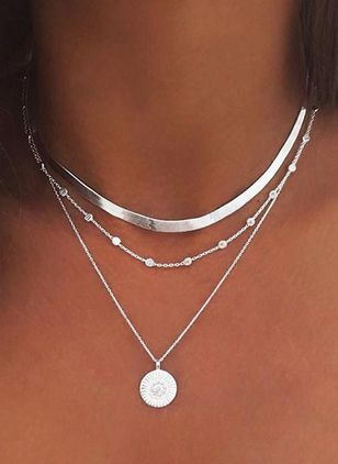 Elegant Round No Stone Pendant Necklaces (146744246)