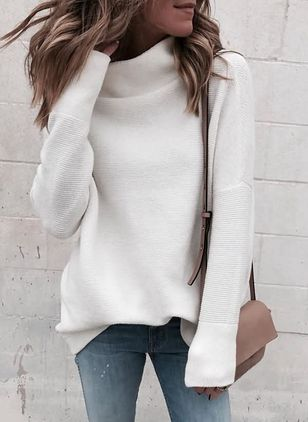 High Neckline Solid Casual Loose Long Shift Sweaters