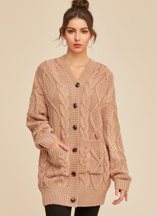 Hooded Solid Casual Loose Long Buttons Sweaters (1353824)