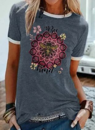 Floral Round Neck Short Sleeve Casual T-shirts (4356191)