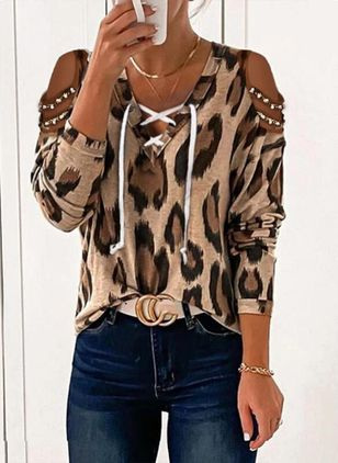 Leopard Casual V-Neckline Long Sleeve Blouses (146983186)