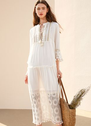 Elegant Solid Hollow Out Tunic Shift Dress