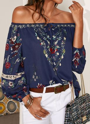 Floral Sexy Off the Shoulder Long Sleeve Blouses (1542286)