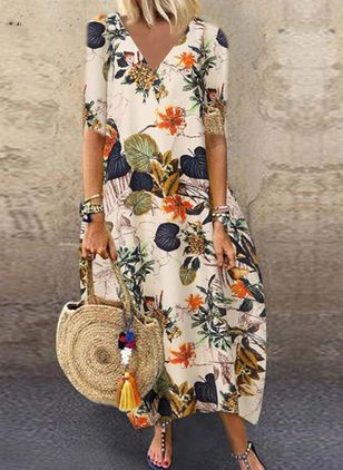 Casual Floral Shirt Round Neckline A-line Dress (100546714)