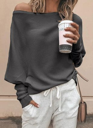 Oblique Neckline Solid Casual Loose Regular Sweaters