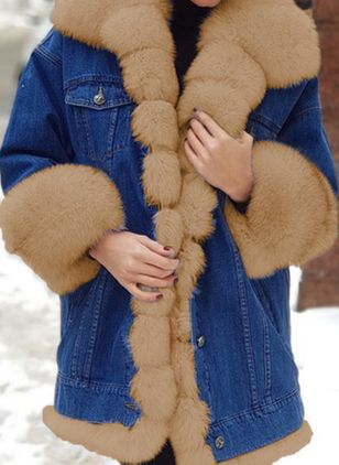 Long Sleeve Lapel Buttons Pockets Fur Coats (128228169)