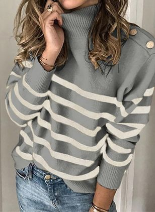 High Neckline Stripe Casual Loose Regular Buttons Sweaters (107422981)