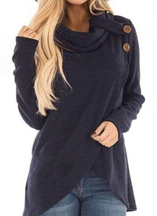 High Neckline Solid Casual Loose Regular Buttons Sweaters (118207730)
