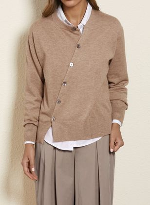 Round Neckline Solid Casual Loose Regular Buttons Sweaters (1353836)