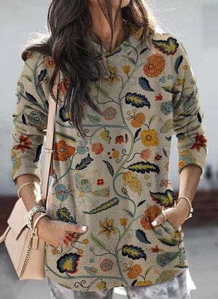 Hooded Floral Casual Loose Regular Pockets Sweaters (146785339)