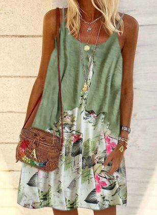 Casual Floral Tunic Camisole Neckline A-line Dress (101988249)