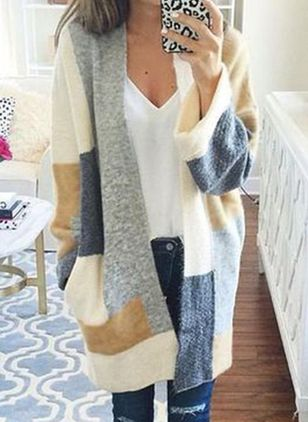 Round Neckline Color Block Casual Loose Long Shift Sweaters (112236818)
