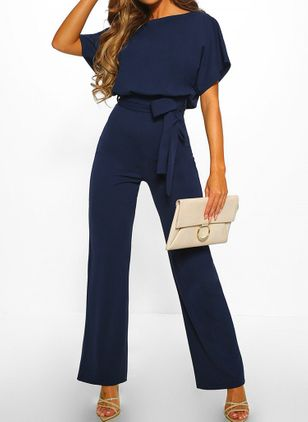 Casual Loose High Waist Cotton Jumpsuits (1542155)