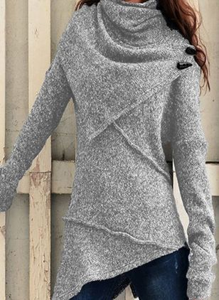 High Neckline Solid Casual Loose Regular A-line Sweaters (118207725)
