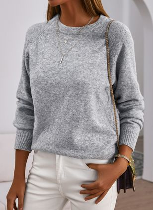 Round Neckline Solid Casual Shift Sweaters (146908742)