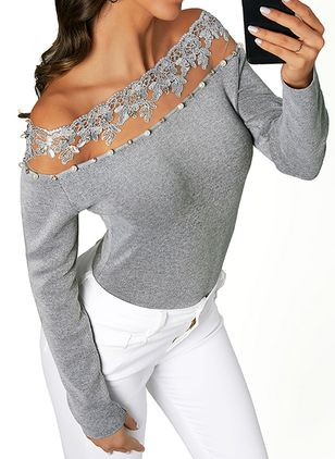 Boat Neckline Solid Casual Tight Appliques Sweaters (1390456)