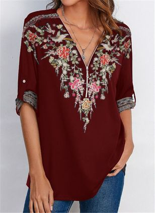 Floral Casual V-Neckline Long Sleeve Blouses (128228163)