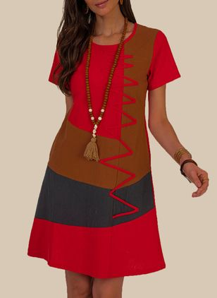 Casual Color Block Tunic Round Neckline A-line Dress (106704286)