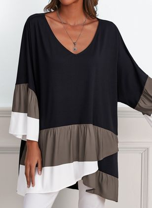 Plus Size Color Block Casual V-Neckline Long Sleeve Blouses (106587930)