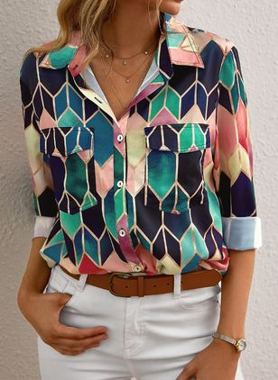 Color Block Casual Collar Long Sleeve Blouses (120647988)