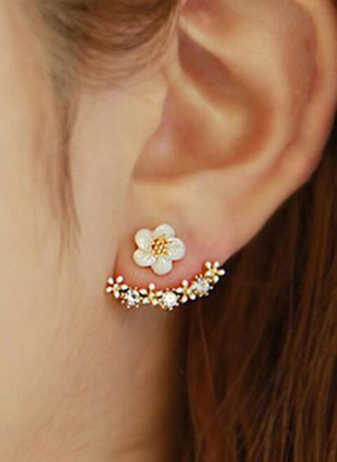 Cute Floral No Stone Stud Earrings (146632218)