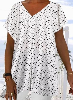 Plus Size Geometric Casual V-Neckline Short Sleeve Blouses (4356155)