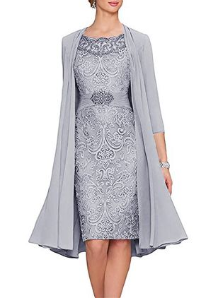 Elegant Solid Embroidery Round Neckline Sheath Dress