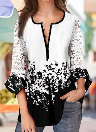 Floral Casual Round Neckline 3/4 Sleeves Blouses (110711589)