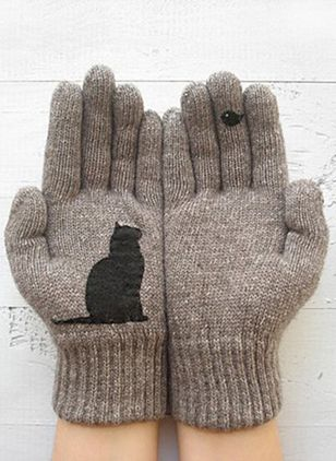 Women's Casual Cotton Blends Gloves & Mittens Winter Warm Soft Gloves (127657369)