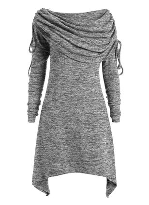 Casual Solid Tunic Draped Neckline A-line Dress (118207715)
