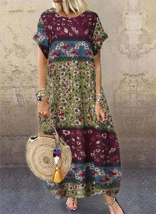 Casual Floral Tunic Round Neckline Shift Dress (100546784)