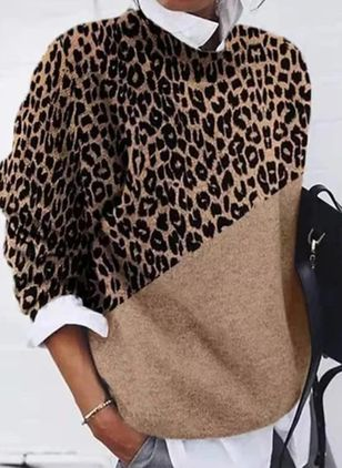 Round Neckline Leopard Casual Loose Regular Shift Sweaters (112236783)