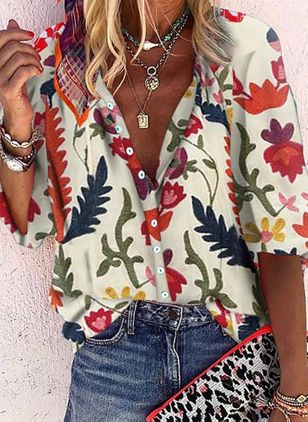 Floral Casual V-Neckline 3/4 Sleeves Blouses (101987853)
