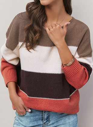 Round Neckline Stripe Casual Regular Shift Sweaters (1390748)