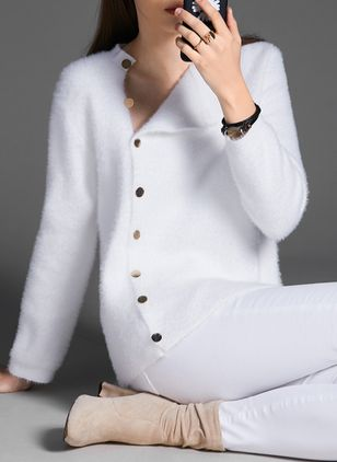 Collar Solid Elegant Tight Regular Buttons Sweaters (1457610)