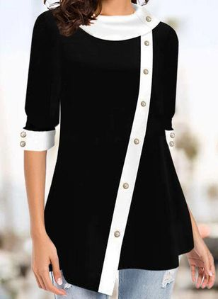 Color Block Casual Draped Neckline Long Sleeve Blouses (146787150)