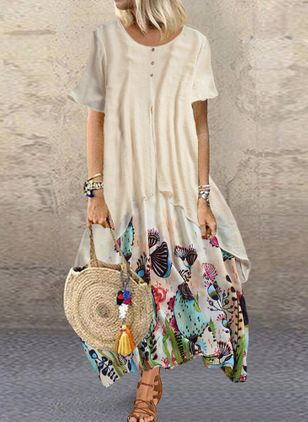 Plus Size Casual Floral Tunic Round Neckline A-line Dress (4209598)