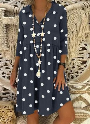 Casual Polka Dot Tunic Collar A-line Dress