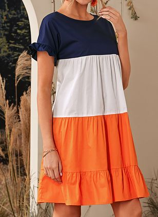 Casual Color Block Round Neckline Above Knee Shift Dress (146642903)
