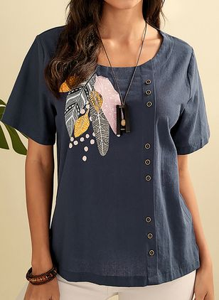 Character Casual Round Neckline Short Sleeve Blouses (4040265)
